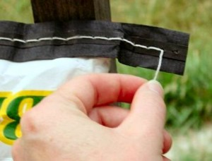 pull the string to open a feed sack
