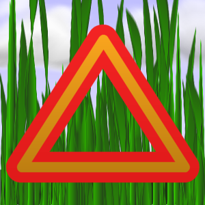grass with caution sign