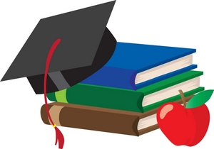 Stack of schoolbooks with mortarboard cap and apple